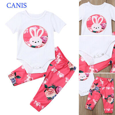 UK Newborn Infant Baby Girls Outfits Romper Tops+Long Pants Cotton Clothes Set