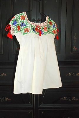 VINTAGE 60's/70s MEXICAN Top~GLASS BEAD Thick Cotton Ethnic Folk Festival Blouse
