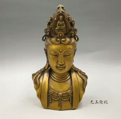 """8"""" Ming xuande mark Chinese old antique bronze guanyin head Buddha statue"""