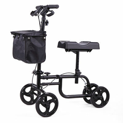 Mobility Knee Walker Scooter Roller All Terrain Crutch Steerable Foldable Black