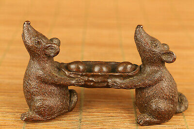 Antique old red copper hand mouse statue netsuke collectable ornament