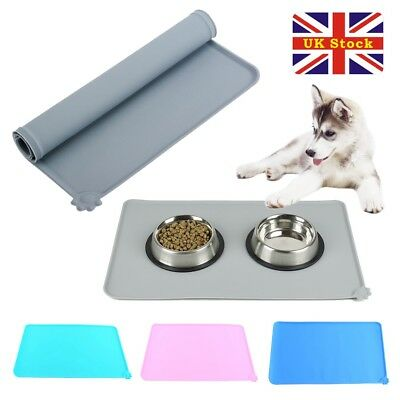 Silicone Puppy Dog Placemat Pet Cat Dish Bowl Feeding Food Water Mat Clean UK