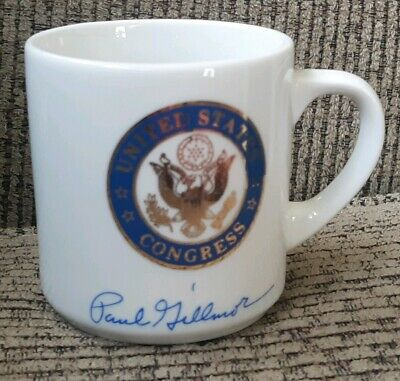 ANTIQUE milk glass coffee mug cup Paul Gillmor Ohio US congress logo senator USA