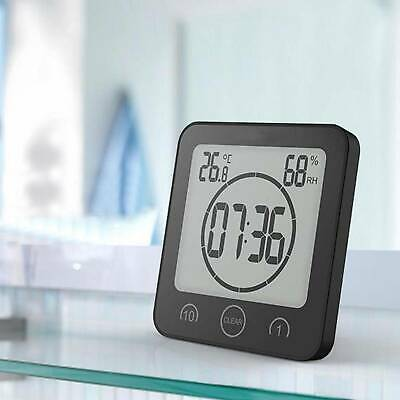 Waterproof Bathroom Digital Shower Clock Timer Alarm Temperature Meter Humidity