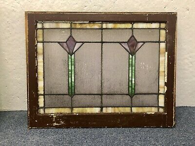 Antique Tulip Wavy Glass Arts And crafts Leaded Stained Glass Window