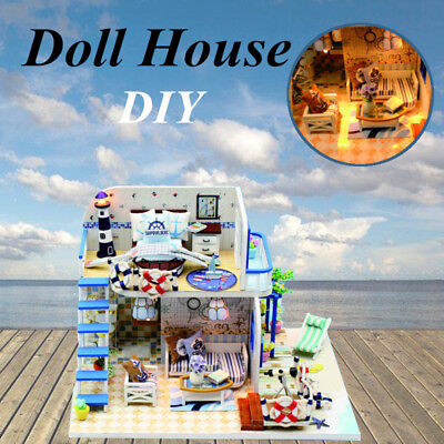 DIY Wooden Cottage Dollhouse Miniature Dolls House W/Furniture LED Light  AU