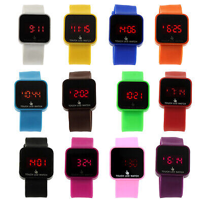 Unisex LED Digital Touch Screen Silicone Wrist Watch A1H2