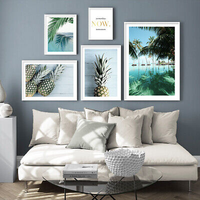 Pineapple Ocean Beach Canvas Poster Seascape Print Tropical Decoration Picture