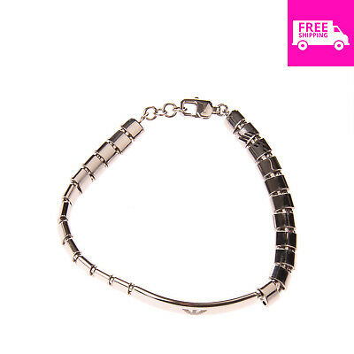 EMPORIO ARMANI Stainless Steel Link Bracelet Logo Detail Lobster Clasp Closure