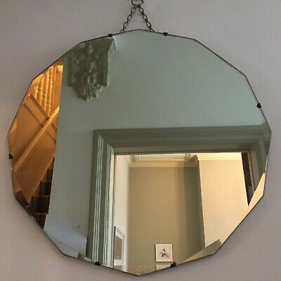 Round Vintage Frameless Bevelled Mirror 12Sided Original Chain Antique 52cm m247