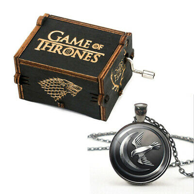 Child Gifts Game of Thrones Hand Crank Wooden Music Box with 9 Hours Badge