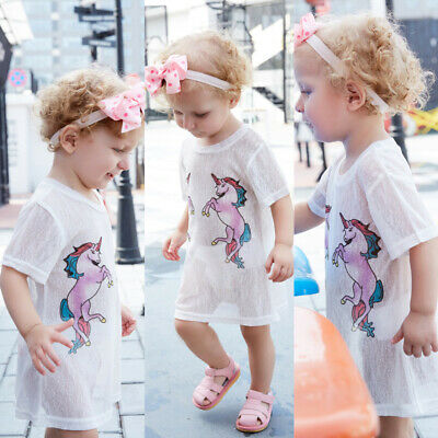 Cute Toddler Kids Baby Girl Tulle Unicorn Dress Short Sleeve Top T-shirt Clothes