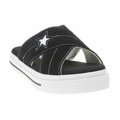 New Womens Converse Black One Star Suede Sandals Slip On Style Lace Up