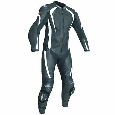 RST Motorcycle R-18 CE One Piece Leather Suit  - Black White - Sliders - Back