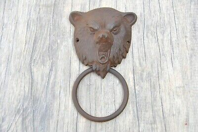 Vintage Grizzly bear face Iron door gate Chest Ring Pull drop handle knocker