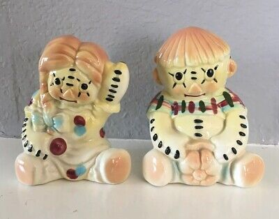 Vintage Raggedy Ann and Andy Vallona Starr California Pottery figurines