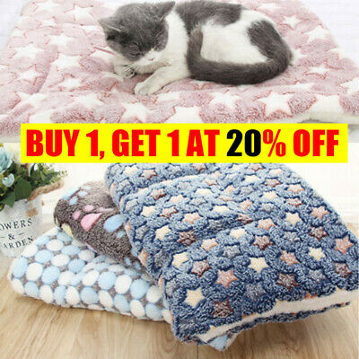 Pet Mat Small Large Paw Print Cat Dog Puppy Fleece Soft Blanket Bed Cushion R