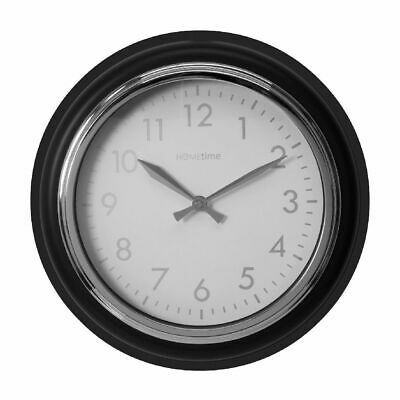 Grey & Silver Deep Case 32cm Diameter Contemporary Wall Clock By Hometime