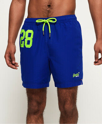 New Mens Superdry Waterpolo Swim Shorts Racer Cobalt