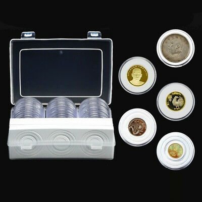 30pcs Clear Capsule Collection Coin Holders Storage Box Adjustab For 16-46mm