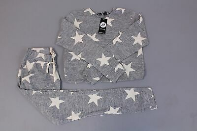 boohoo Women's Maternity Evie Star Printed Lounge Set SV3 Gray Size US:6 NWT