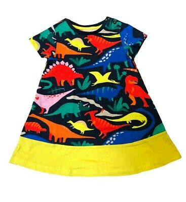 Ex Mini Boden Girls Kids Dinosaur Printed Tunic Dress Age 2 - 12 Years (i31.1)