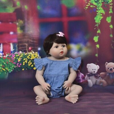 "Reborn Toddler Dolls 23"" Lifelike Girl Doll Silicone Full Body Waterproof Alive"