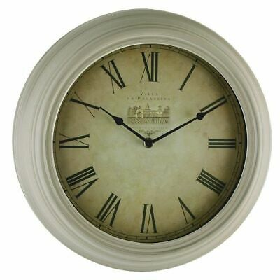 "Large 14"" Diameter Antique Cream ""Chateau"" Wall Clock By Hometime"