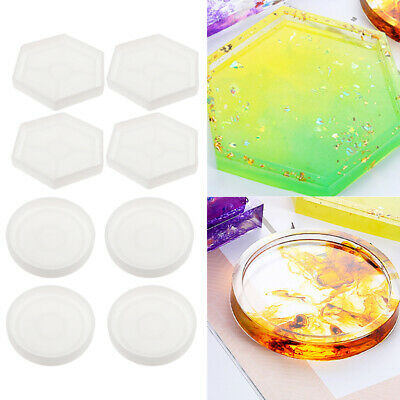 8Pcs clear epoxy resin molds for diy coasters silicone jewelry making mould