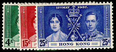 HONG KONG SG137-139, 1937  Coronation COMPLETE SET, LH MINT. Cat £20.