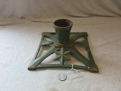 VTG Antique Cast Iron Christmas Tree Stand Holder Green #2