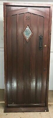 Solid Oak Front Door +Frame Period Reclaimed Antique Old Blown Glass Iron Beauty