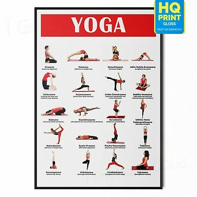 YOGA POSES CHART POSTER POSTURES Wall Art Print Gift | A4 A3 A2 A1 |