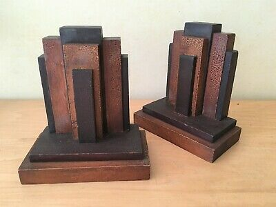 Vintage Art Deco Skyscraper Wooden Bookend Set Pair - Multi Color Wood