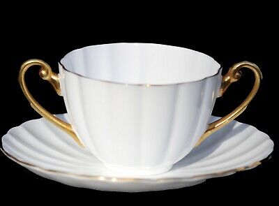 Shelley China Dainty Cream Soup Bowl & Saucer Liner Set White Gold Double Handle