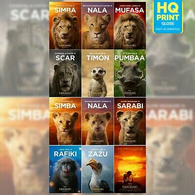 The Lion King Movie Live Action Disney Movie Character 2019 Poster | A4 A3 A2 A1