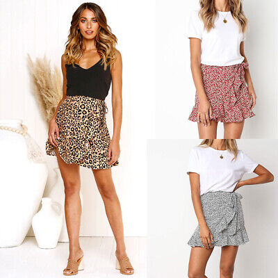 Women Summer Fashion All-match Boho Short Skirt Holiday Beach Casual Skirt Dress