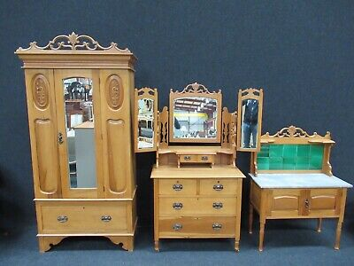 Victorian 3 Piece Bedroom Suite Wardrobe Dressing Table Marble Washstand Rare
