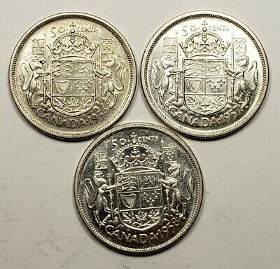 1956 1957 1958 Canada Silver 50 Fifty Cents 3 Different Coin Lot