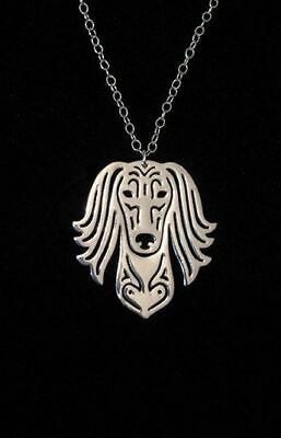 Saluki Pendant Necklace Designer Collectable Jewellery Gift with Chain - Silver
