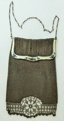 Antique Continental .935 Sterling+ Silver & Enamel Mesh Chain Purse Chatelaine