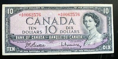 1954  Bank Of Canada  $10 Dollars Replacement Note *A/D 0062576  BC-40bA