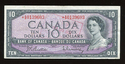 1954 $10 Bank of Canada Replacement Banknote - Cat#40bA - S/N: *A/D0139603