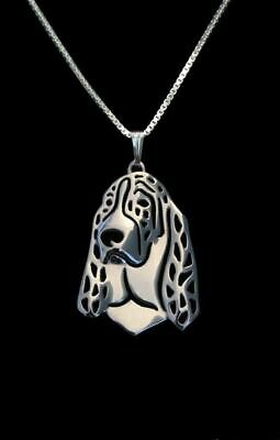Basset Hound Pendant Necklace Designer Jewellery Gift with Chain - Silver