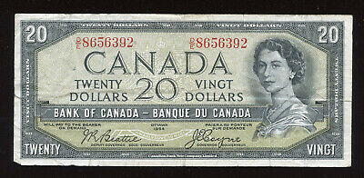 1954 Bank of Canada $20 Devil's Face Banknote - Cat#33b - S/N: D/E8656392