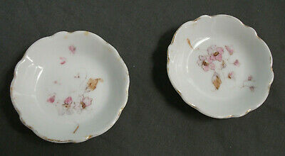 """2 Vintage Butter Pats - Porcelain - Hand Painted Flowers - 3"""" W -  21  73"""