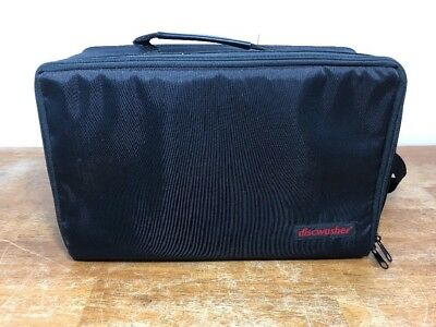 """Black Nylon """" DISCWASHER """" Storage Carrying Case - Holds CASSETTES CDS DVDS"""