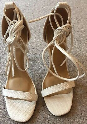 b6a5c3e930 Missguided Lace Up Barely There Heeled Sandals White Croc UK 4 EUR 37