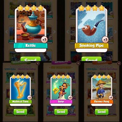 Coin Master Cards Rare Bundle Pack; Satyr, Farmer Feng, Smoking Pipe & More!
