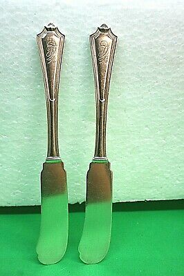 Pair of Gorham Sterling Silver Plymouth Flat Handle Butter Spreaders Monogrammed